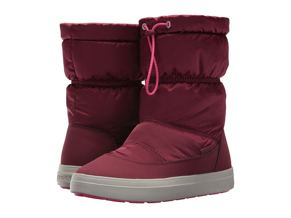 Crocs - Lodge Point Shiny Pull-On (Garnet/Candy Pink) Women's Boots
