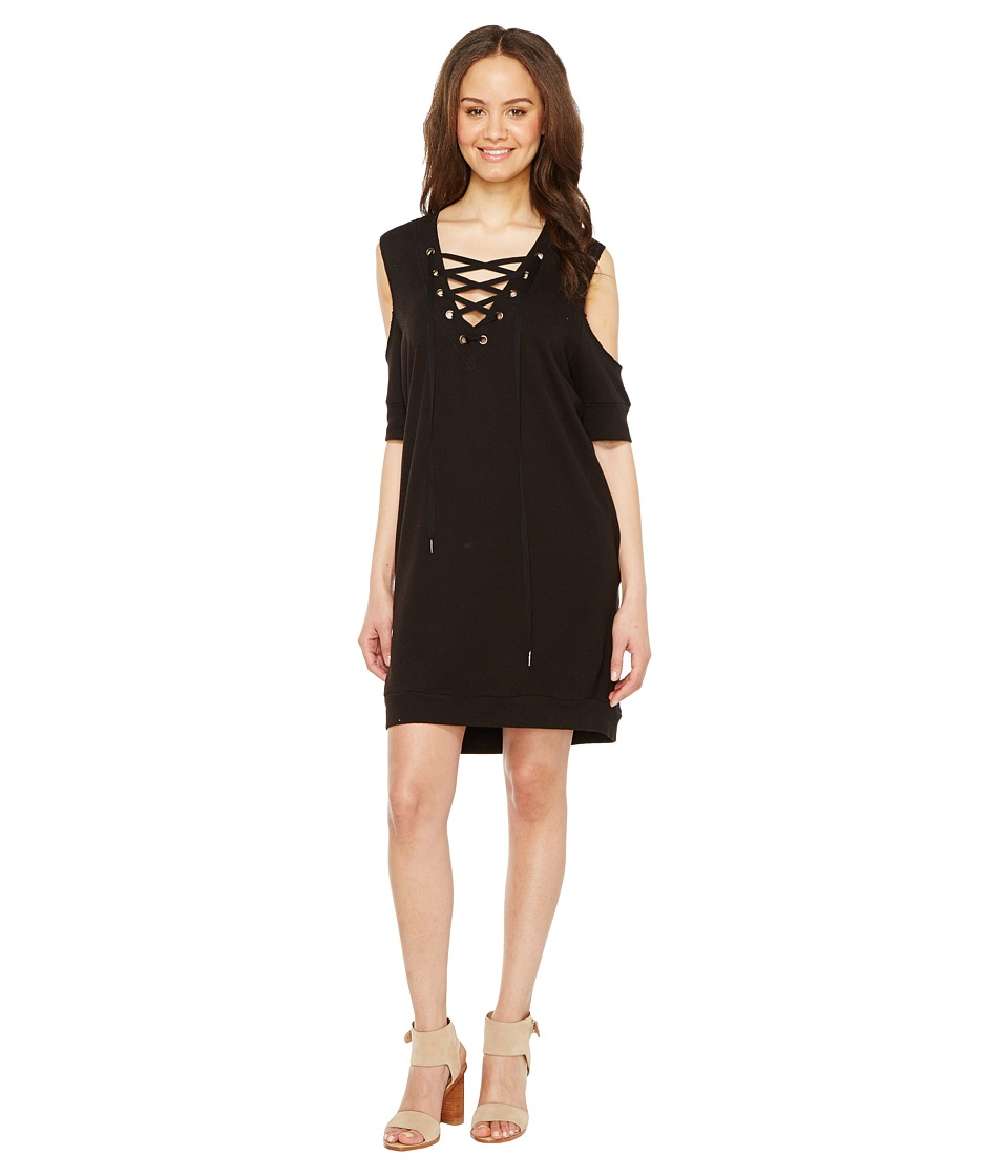 Blank NYC - Sweatshirt Dress with Lace Detailing in Cold Shoulder (Cold Shoulder) Women's Dress