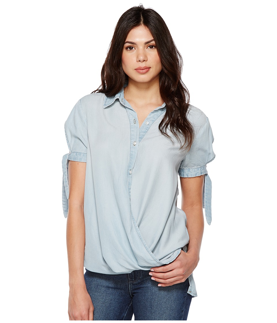 Blank NYC - Denim Collard Shirt with Drape Detail in Oh Behave (Oh Behave) Women's Clothing