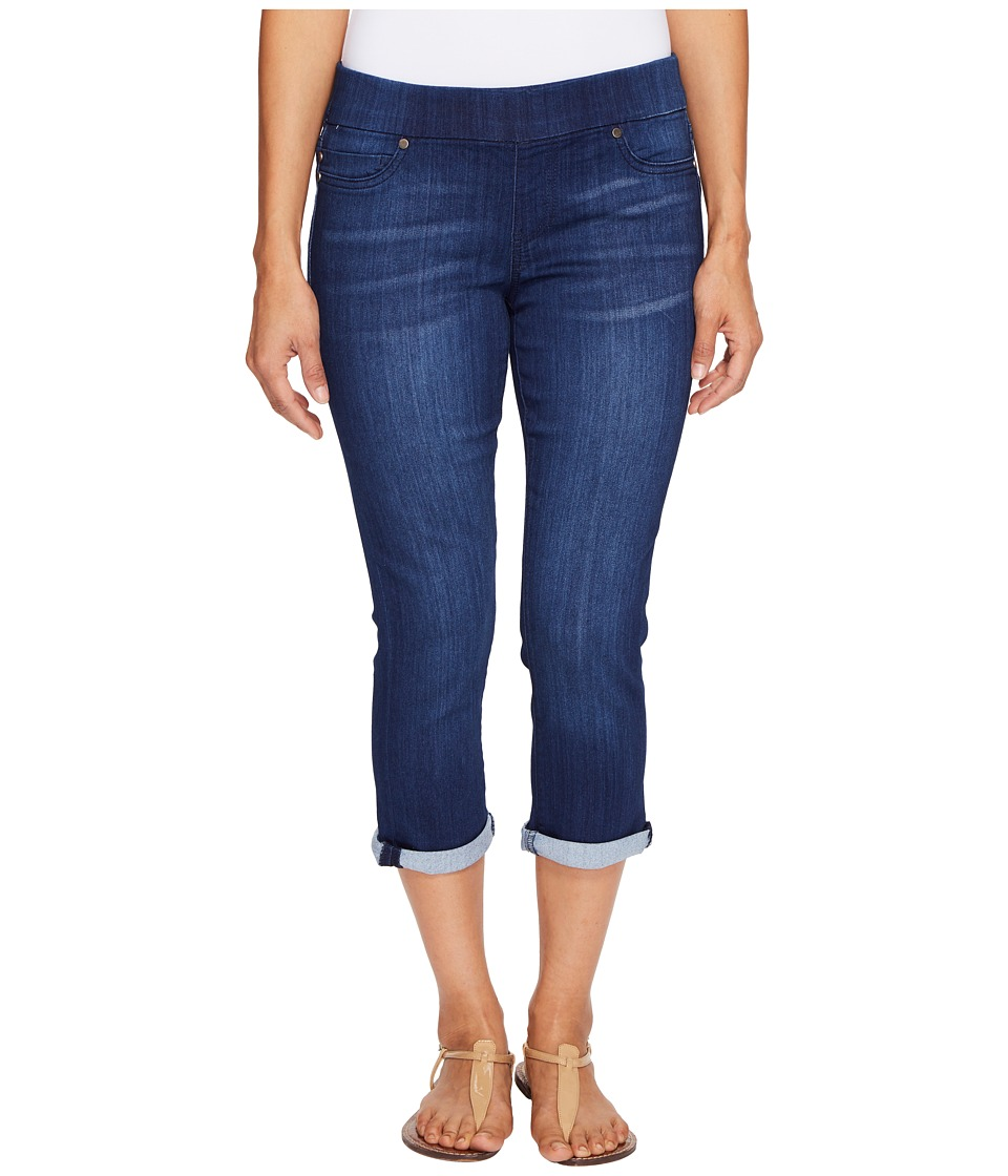 Liverpool Petite Sienna Pull-On Rolled-Cuff Capris on Silky Soft Denim in Havasue Deep (Havasue Deep) Women