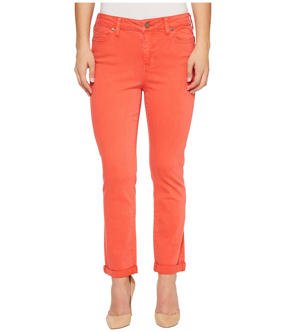 Liverpool - Petite Cami Rolled-Cuff Distress Crop in Vintage Slub Stretch Twill in Bittersweet Coral (Bittersweet Coral) Women's Jeans