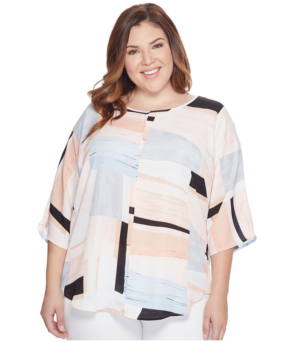 Vince Camuto Specialty Size - Plus Size 3/4 Sleeve Subtle Landscape Blouse (Coral Sands) Women's Blouse