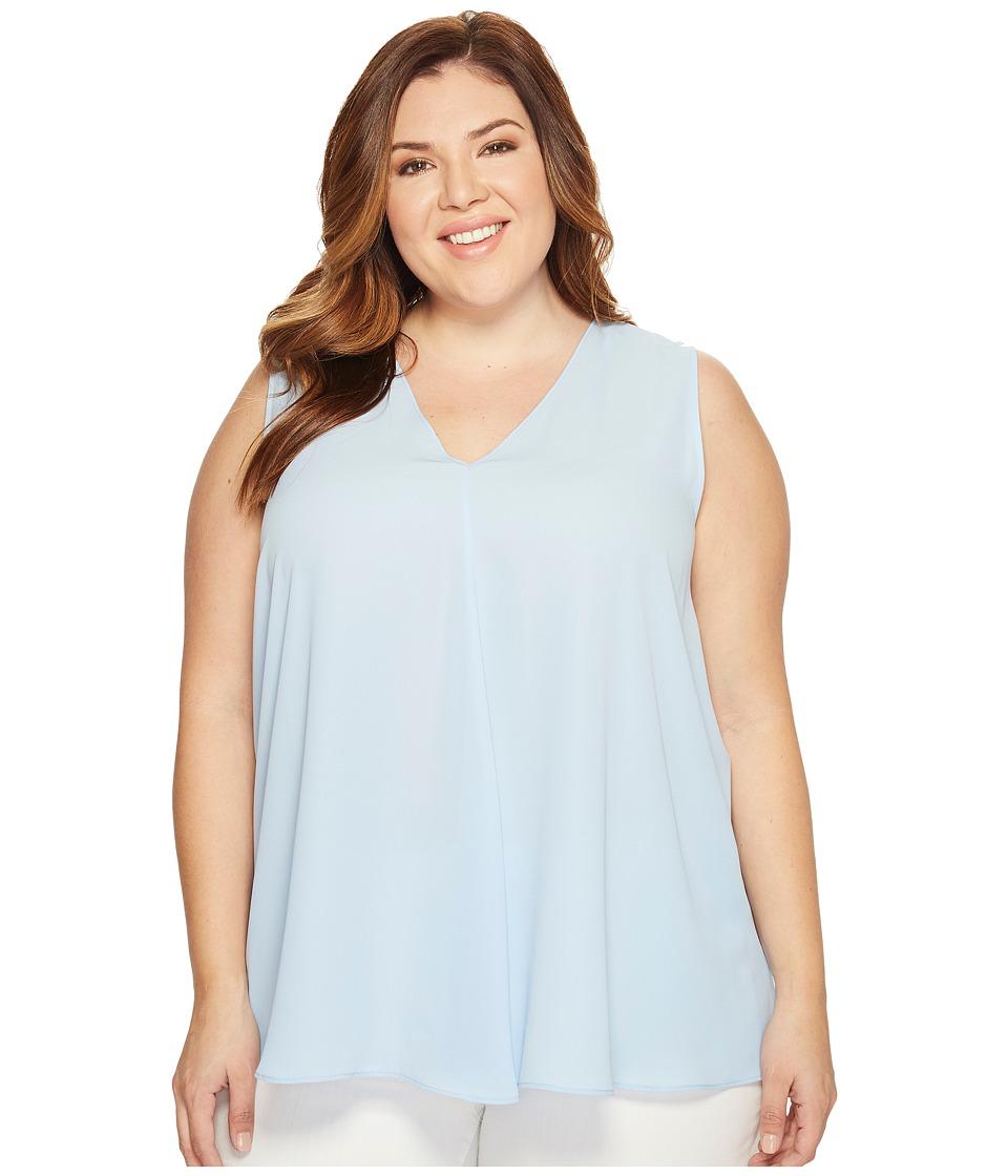 Vince Camuto Specialty Size - Plus Size Sleeveless V-Neck Drape Front Blouse (Light Cornflower) Women's Blouse