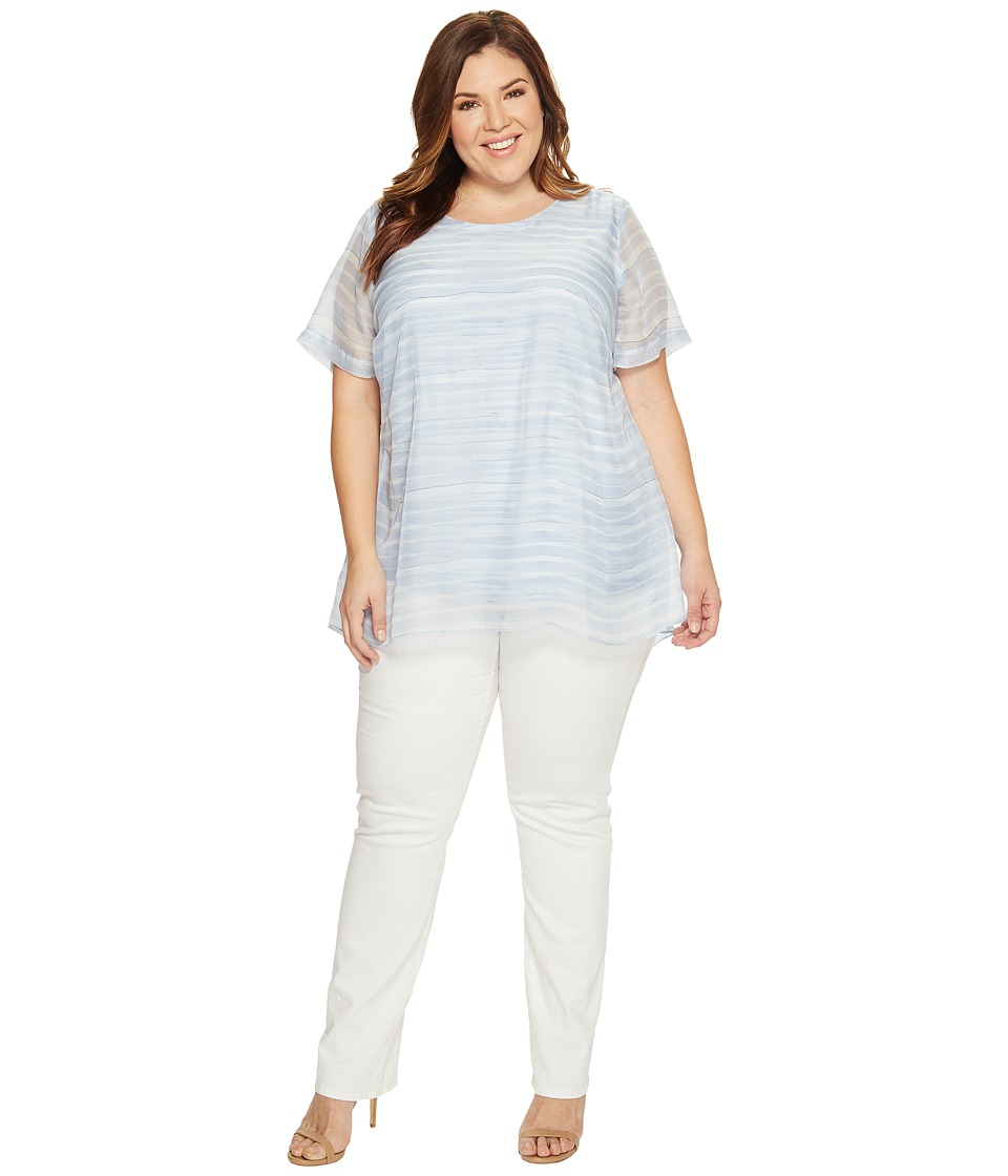 Vince Camuto Specialty Size - Plus Size Short Sleeve Graceful Phrases Chiffon Overlay Blouse (Stormy Blue) Women's Blouse