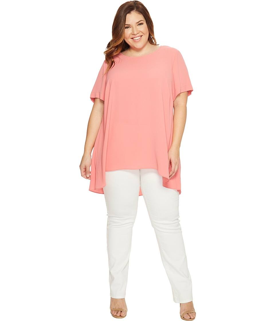 Vince Camuto Specialty Size - Plus Size Short Sleeve High-Low Hem Textured Blouse (Rossetto) Women's Blouse