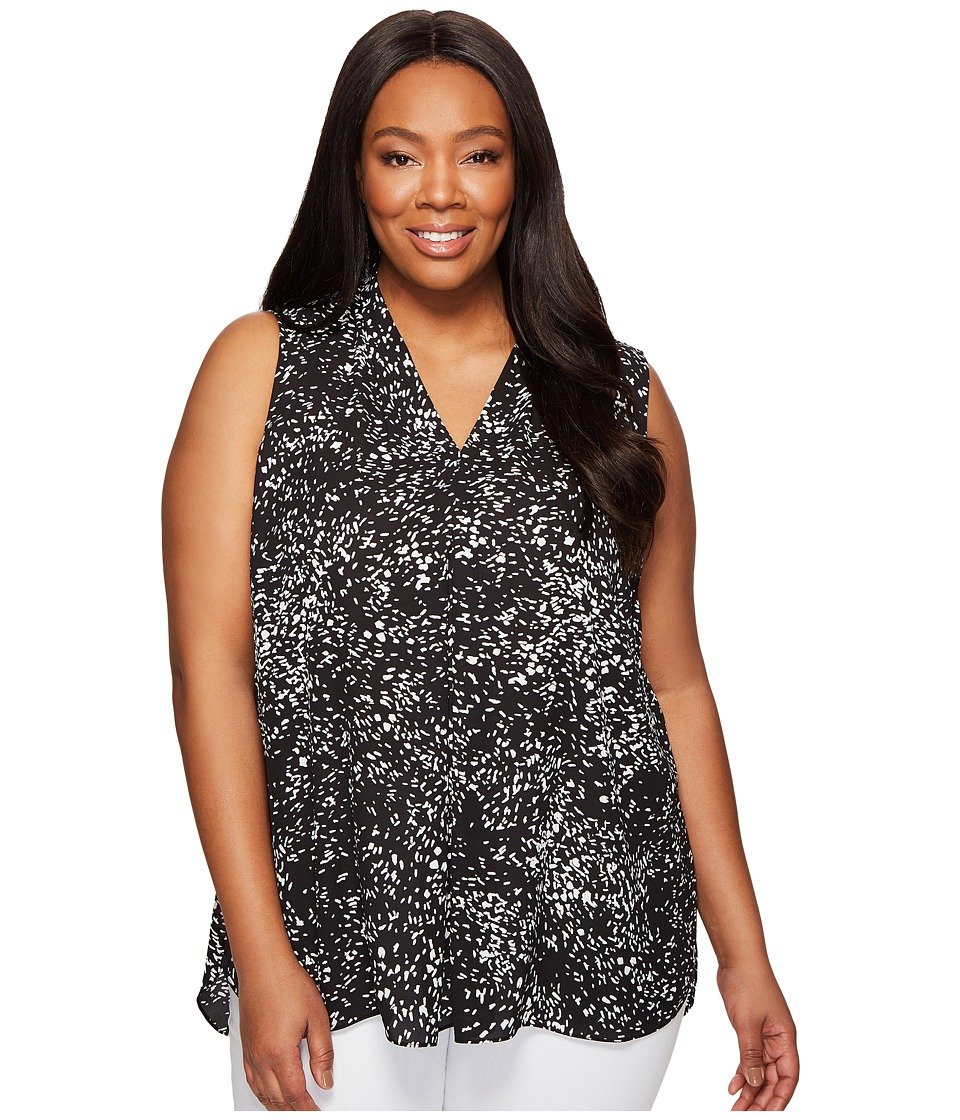 Vince Camuto Specialty Size - Plus Size Sleeveless Textural Reef Invert Pleat Blouse (Rich Black) Women's Blouse