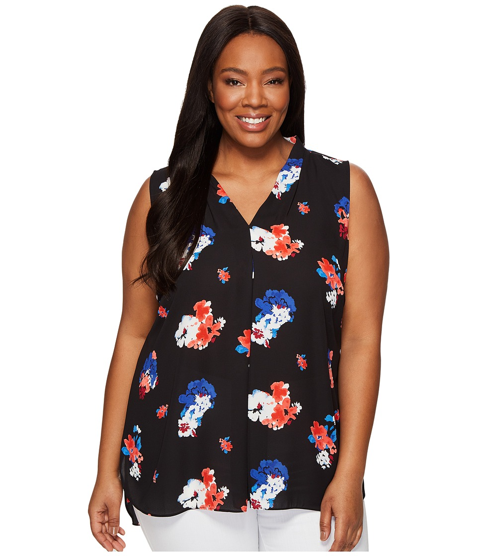 Vince Camuto Specialty Size Plus Size Sleeveless Travelling Bloom Invert Pleat Blouse (Rich Black) Women