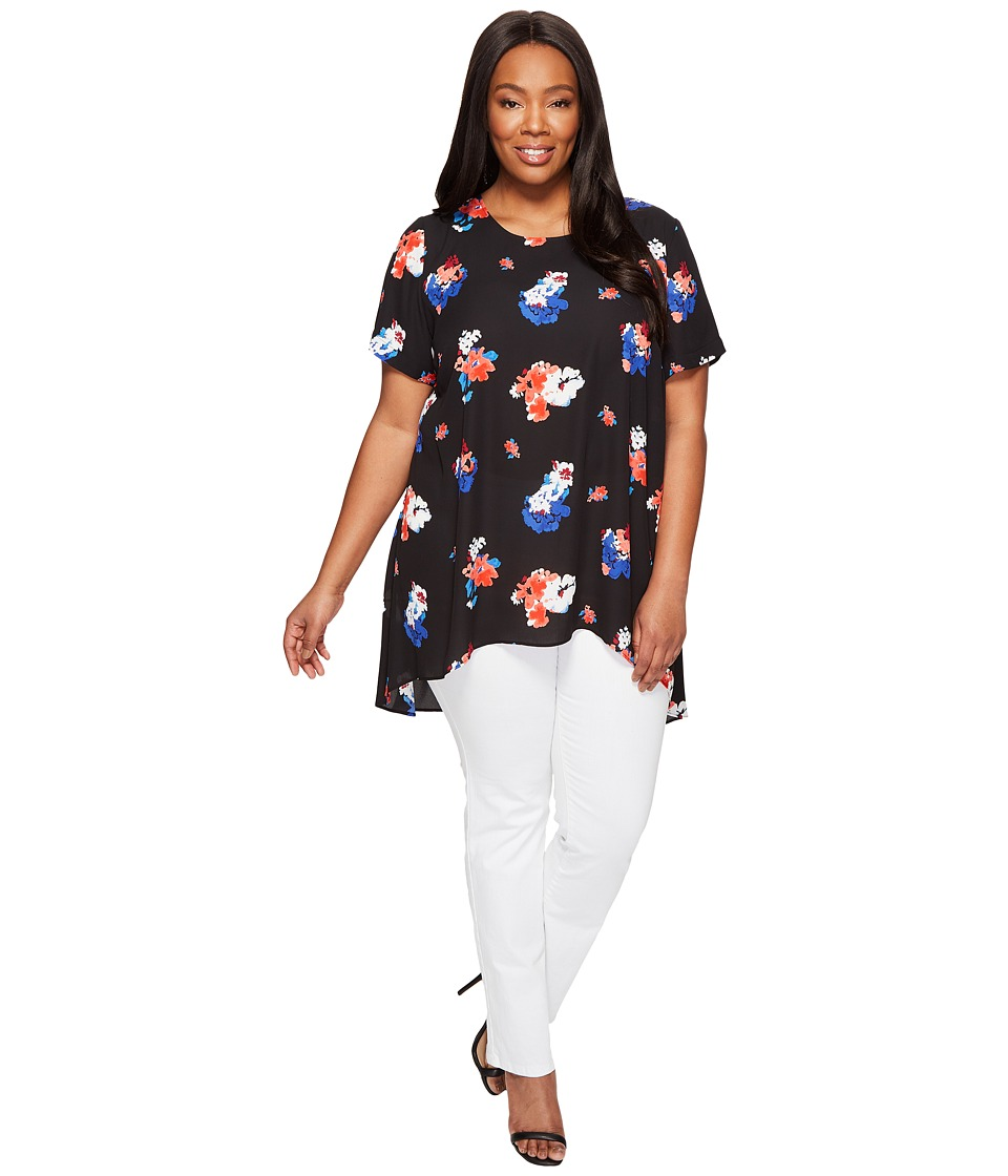 Vince Camuto Specialty Size - Plus Size Short Sleeve Travelling Blooms High-Low Hem Blouse (Rich Black) Women's Blouse