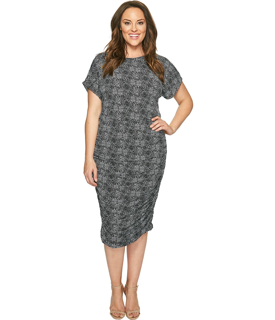 Vince Camuto Specialty Size Plus Size Short Sleeve Delicate Pebbles Ruched Dress (Rich Black) Women
