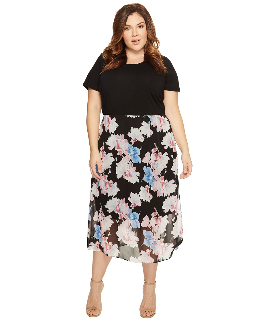 Vince Camuto Specialty Size - Plus Size Short Sleeve Poetic Bouquet Chiffon Overlay Dress (Rich Black) Women's Dress