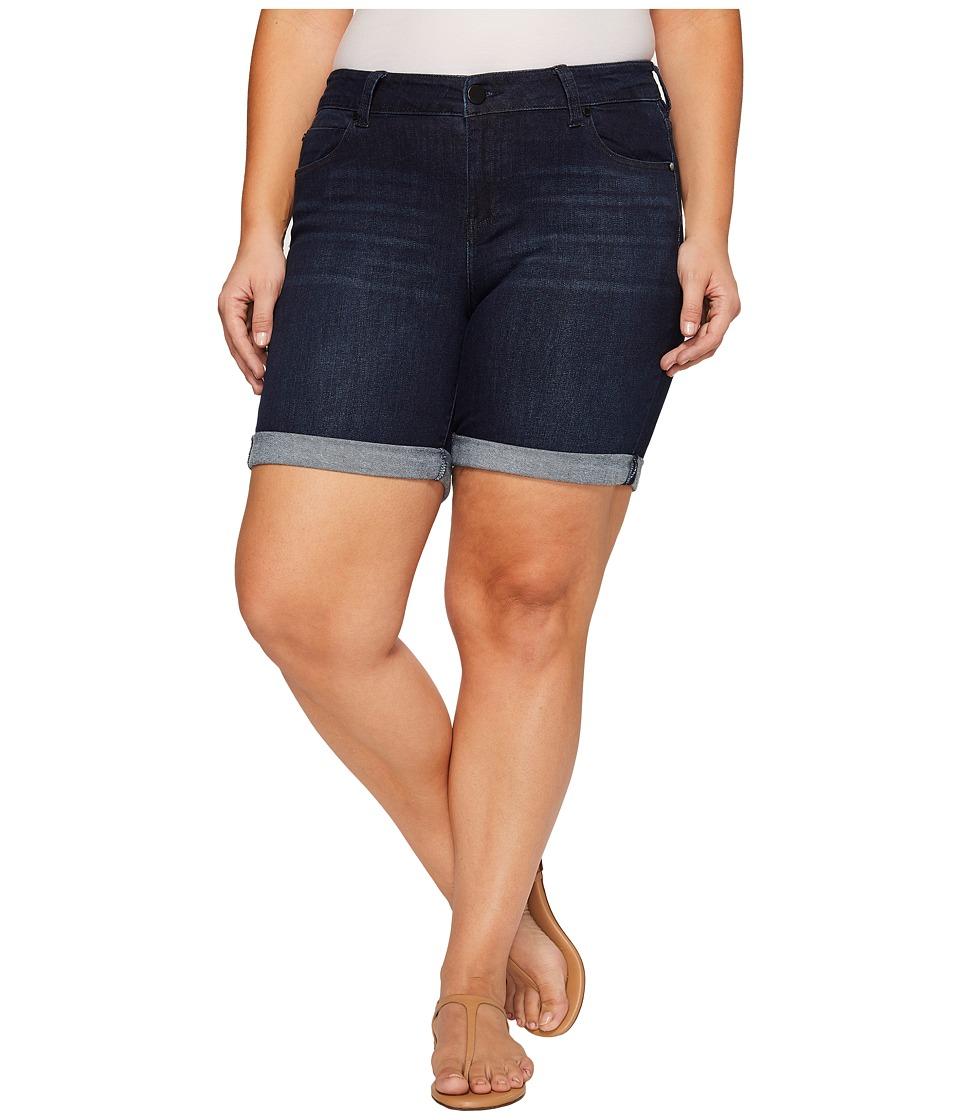 Liverpool - Plus Size Corine Walkshorts Rolled-Cuff on Vintage Super Comfort Stretch Denim in Vintage Super Dark (Vintage Super Dark) Women's Shorts