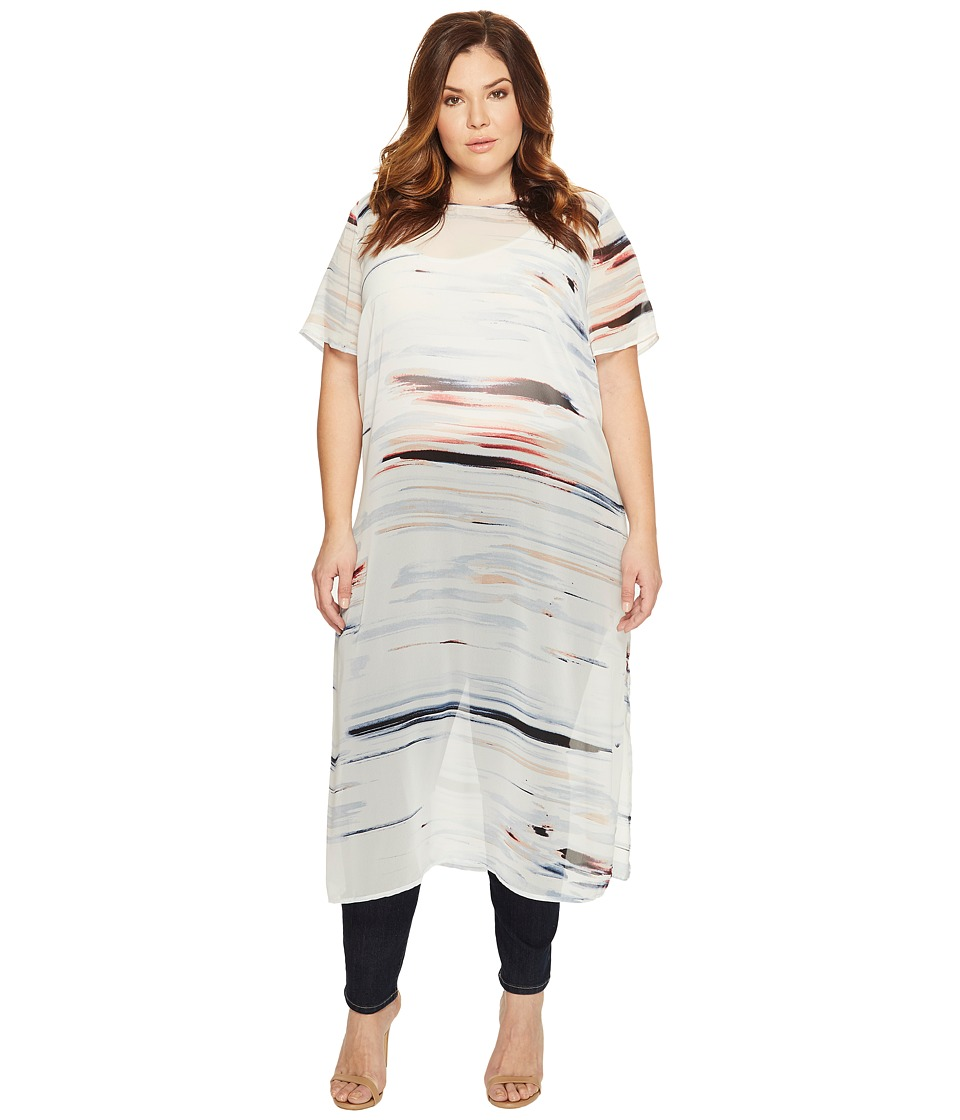 Vince Camuto Specialty Size - Plus Size Short Sleeve Floating Whispers Long Tunic with Slits (New Ivory) Women's Blouse