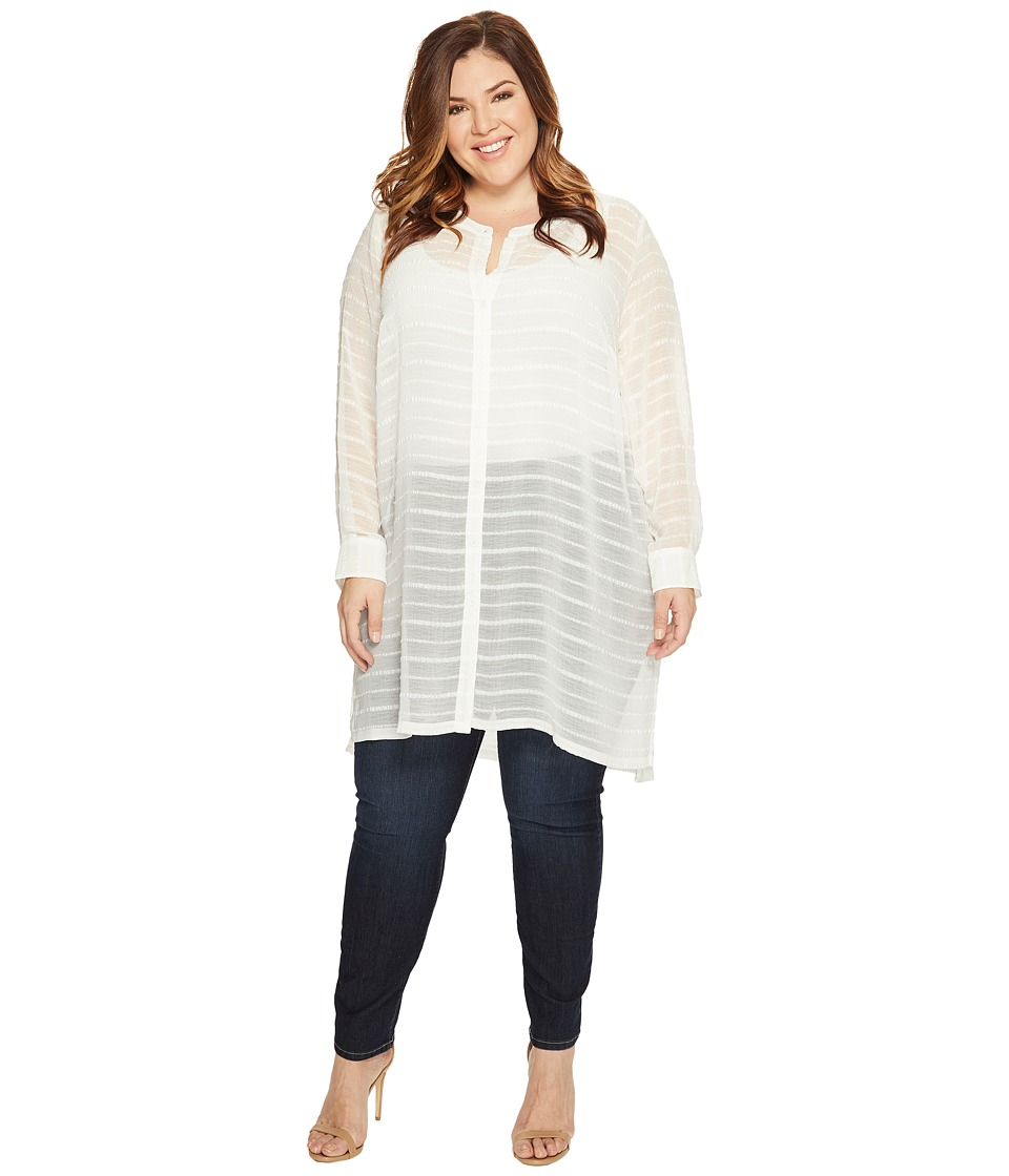 Vince Camuto Specialty Size - Plus Size Long Sleeve Button Down Sheer Embroidered Stripe Tunic (New Ivory) Women's Blouse