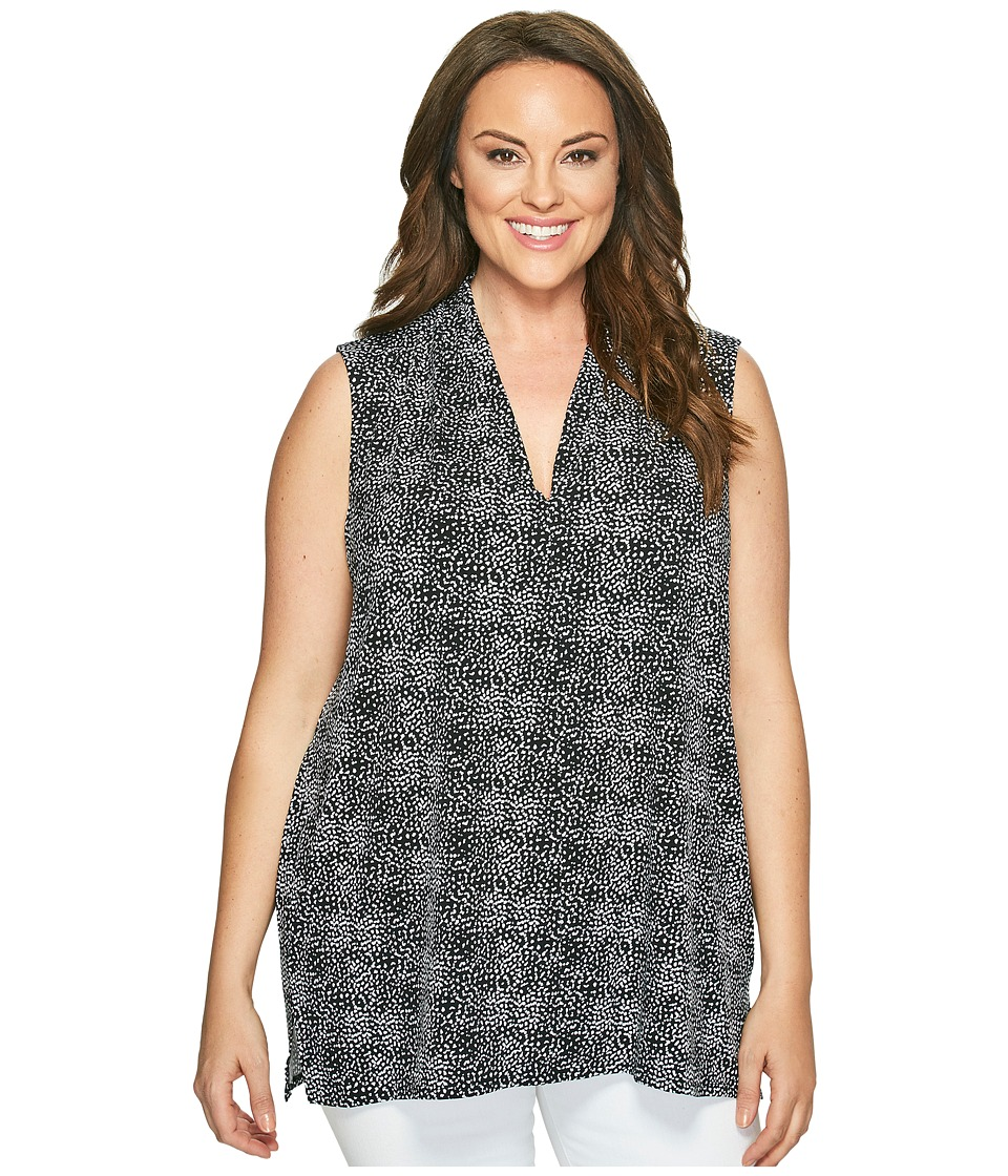 Vince Camuto Specialty Size - Plus Size Sleeveless Delicate Pebbles V-Neck Top with Chiffon Seam (Rich Black) Women's Sleeveless