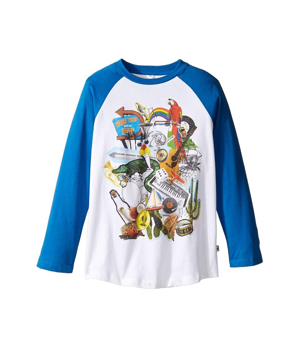 Stella McCartney Kids - Max Multi Graphic Raglan Tee (Toddler/Little Kids/Big Kids) (White/Blue) Boy's T Shirt