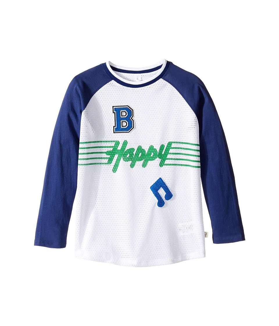 Stella McCartney Kids - Max 'B Happy' Raglan Mesh T-Shirt (Toddler/Little Kids/Big Kids) (White/Navy) Boy's T Shirt