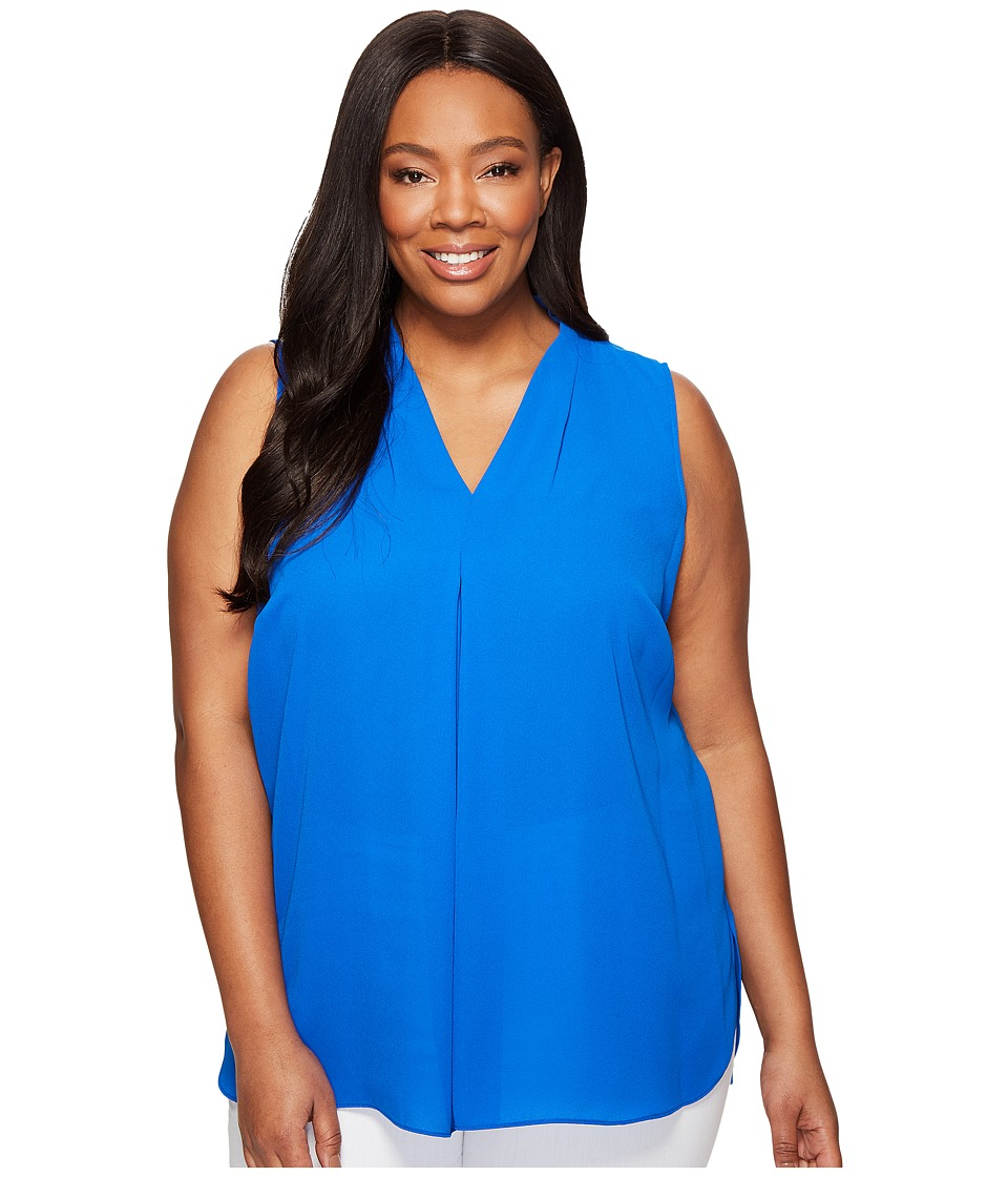 Vince Camuto Specialty Size - Plus Size Sleeveless V-Neck Blouse with Inverted Front Pleat (Cobalt Blue) Women's Blouse