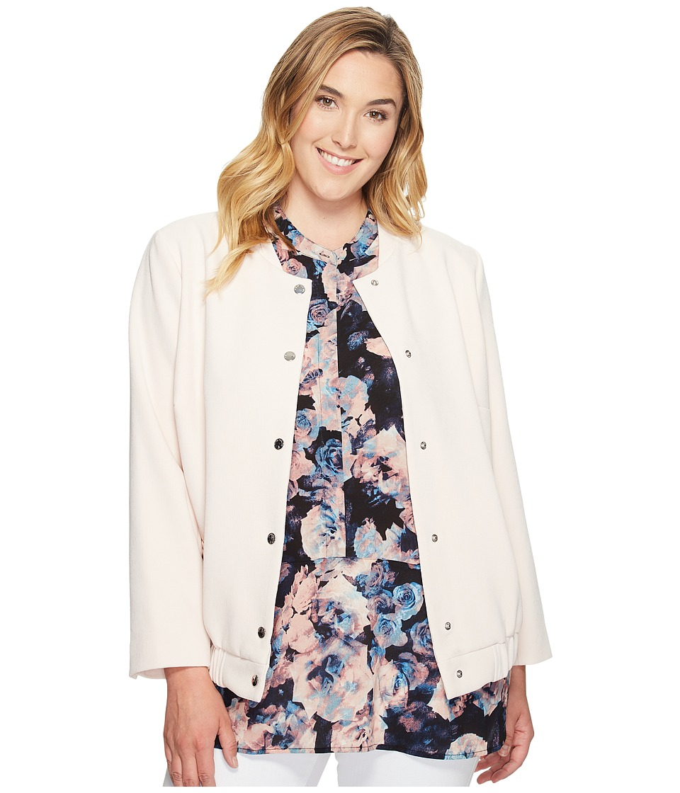 Vince Camuto Specialty Size - Plus Size Snap Front Blistered Texture Bomber Jacket (Pink Mimosa) Women's Jacket