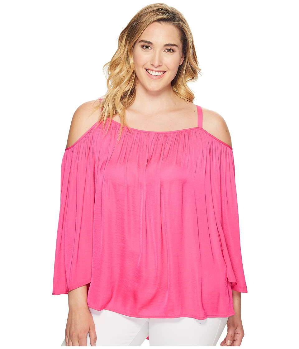 Vince Camuto Specialty Size - Plus Size Long Sleeve Cold Shoulder Blouse (Electric Pink) Women's Blouse