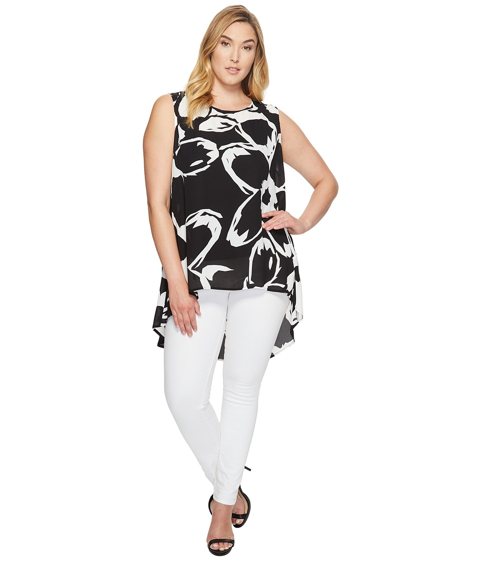 Vince Camuto Specialty Size - Plus Size Sleeveless Cut Out Floral Color Blocked Blouse (Rich Black) Women's Blouse