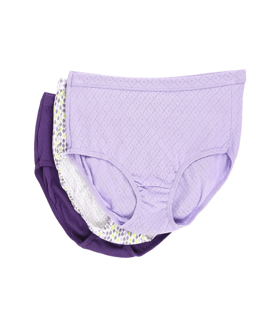 Jockey - Elance Breathe Brief 3-Pack (Petal/Multi Leaf/Russian Violet) Women's Underwear