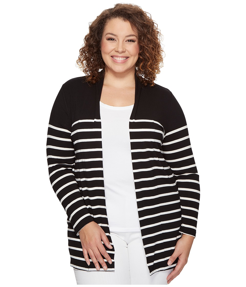 Vince Camuto Specialty Size - Plus Size Long Sleeve Clipper Stripe Panel Cardigan (Rich Black) Women's Sweater