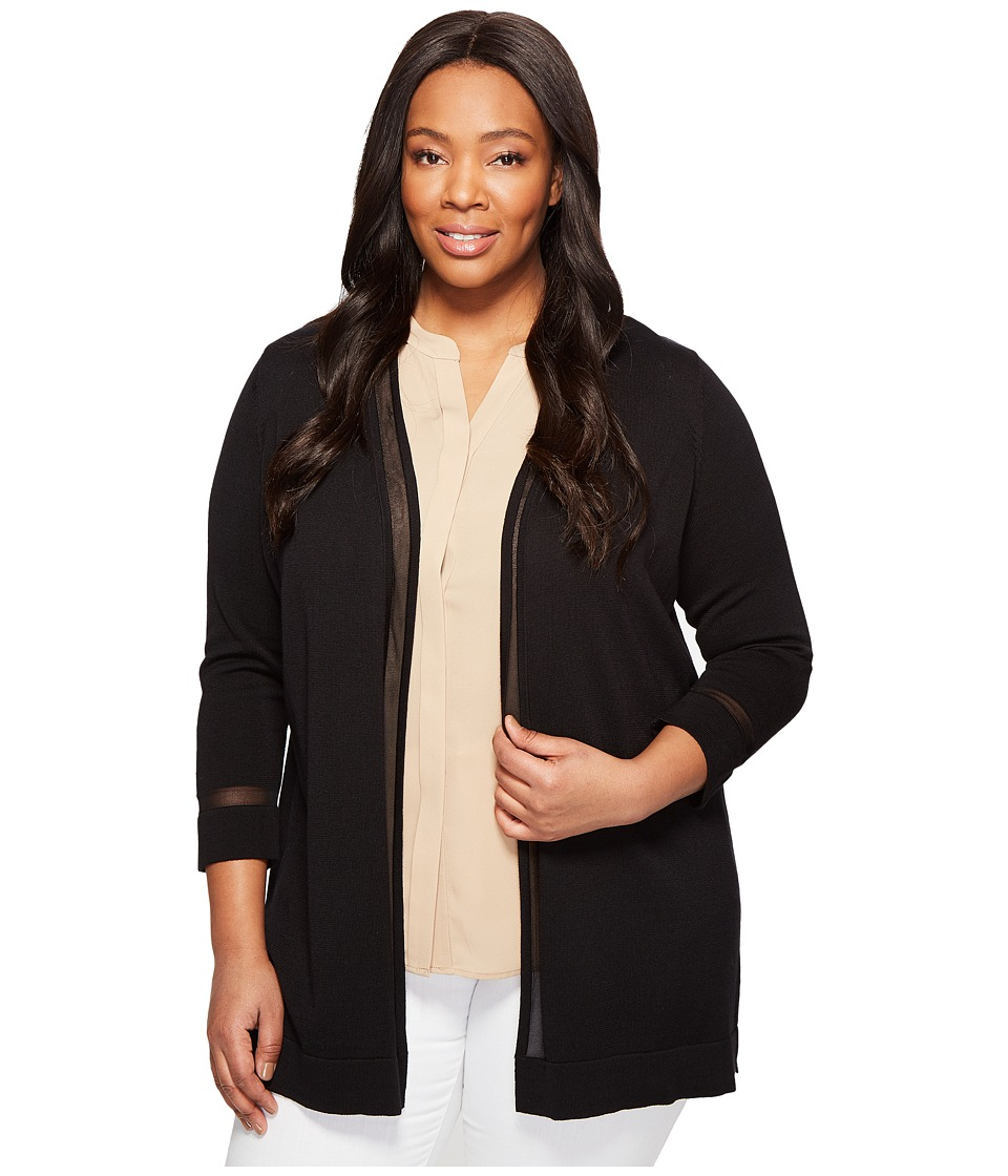 Vince Camuto Specialty Size - Plus Size Long Sleeve Sheer Stripe Cardigan (Rich Black) Women's Sweater