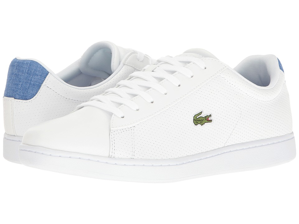 Lacoste - Carnaby EVO 217 1 (White/Blue) Men's Shoes