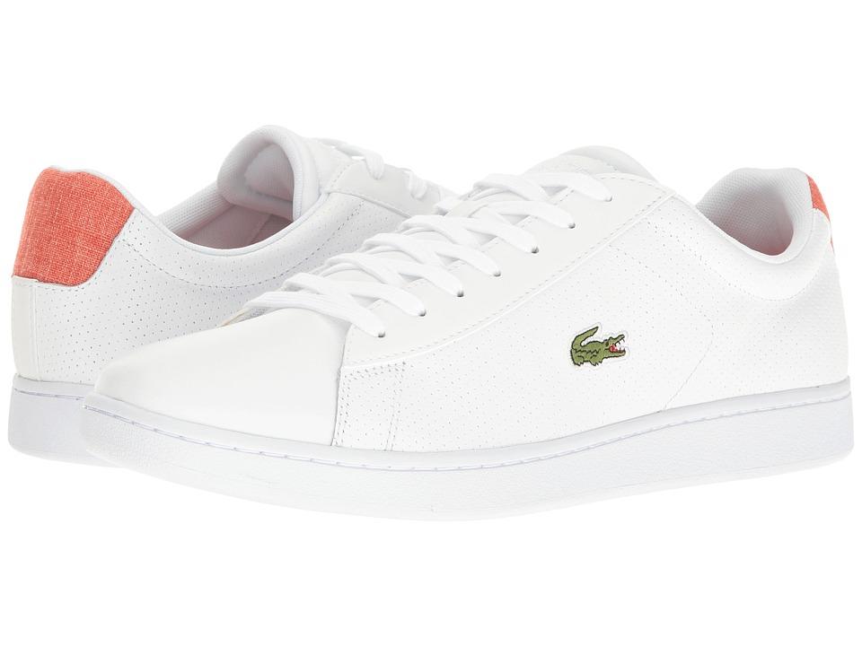 Lacoste - Carnaby EVO 217 1 (White/Dark Orange) Men's Shoes