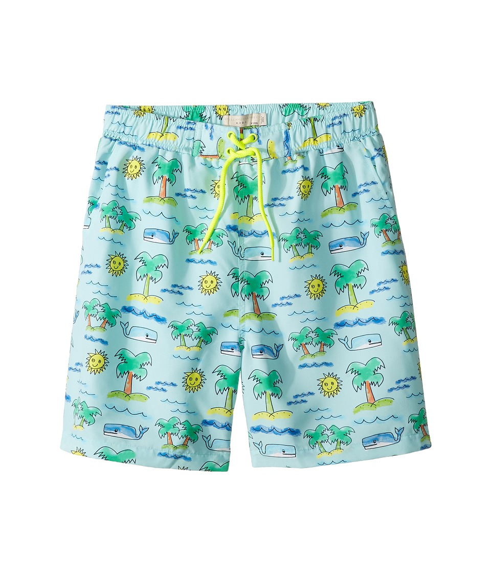 Stella McCartney Kids - Taylor Fluro Beach Print Swim Shorts (Toddler/Little Kids/Big Kids) (Blue) Boy's Swimwear