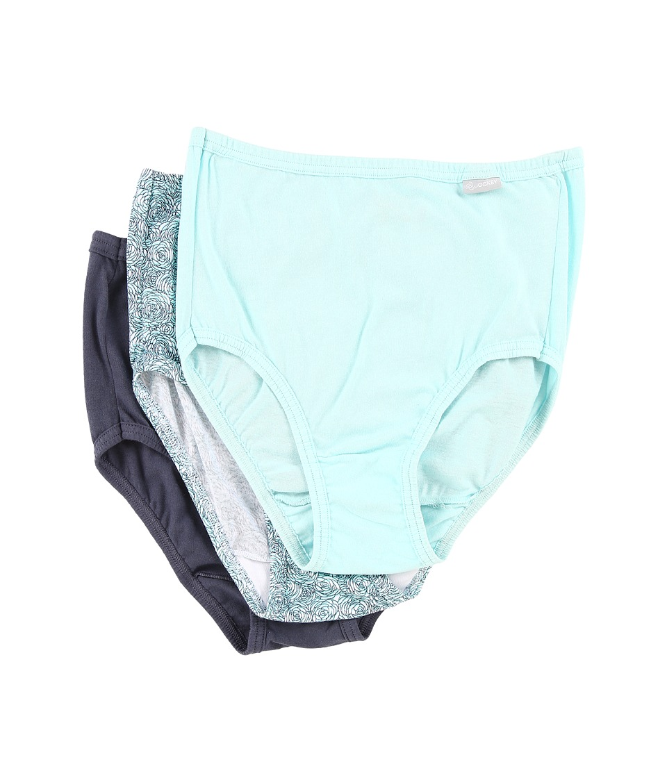 Jockey - Elance Brief 3-Pack (Icy Teal/Etched Rose/Dirty Denim) Women's Underwear