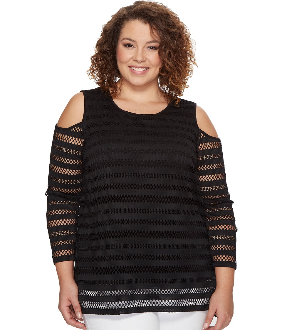 Vince Camuto Specialty Size - Plus Size Long Sleeve Mesh Stripe Cold Shoulder Top (Rich Black) Women's Clothing
