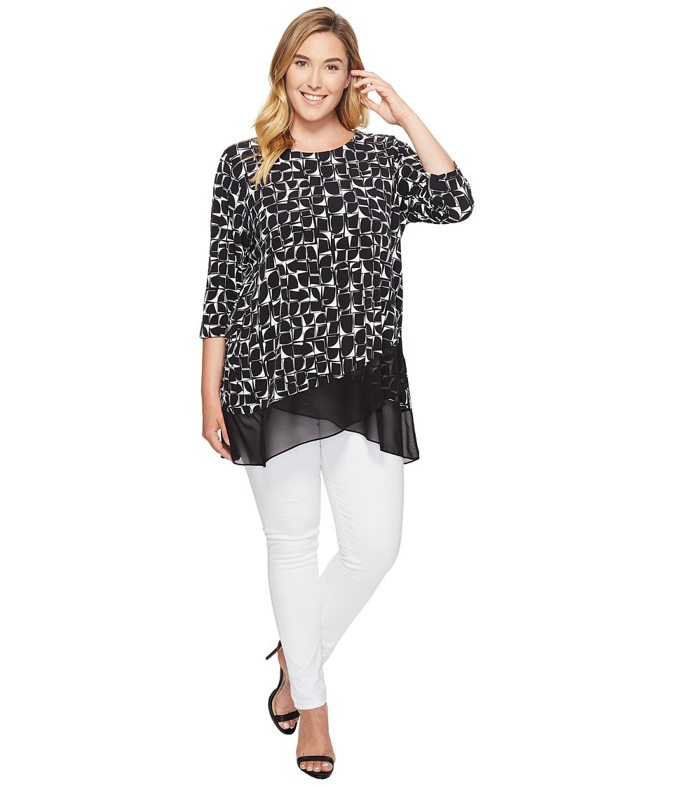 Vince Camuto Specialty Size - Plus Size 3/4 Sleeve Stamp Impression Asymmetrical Hem Top (Rich Black) Women's Clothing