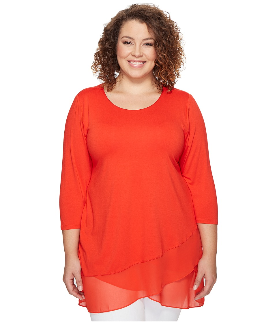 Vince Camuto Specialty Size - Plus Size 3/4 Sleeve Asymmetrical Chiffon Hem Top (Dynamic Red) Women's Clothing