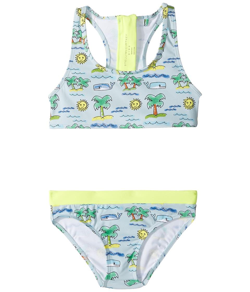 Stella McCartney Kids - Koko Fluro Beach Print Two-Piece Swimsuit (Toddler/Little Kids/Big Kids) (Blue) Girl's Swimwear Sets