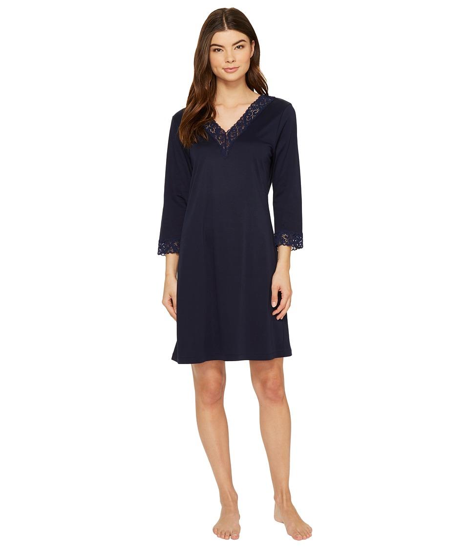 Hanro - Moments 3/4 Sleeve Big Shirt 7736 (Deep Midnight) Women's Pajama