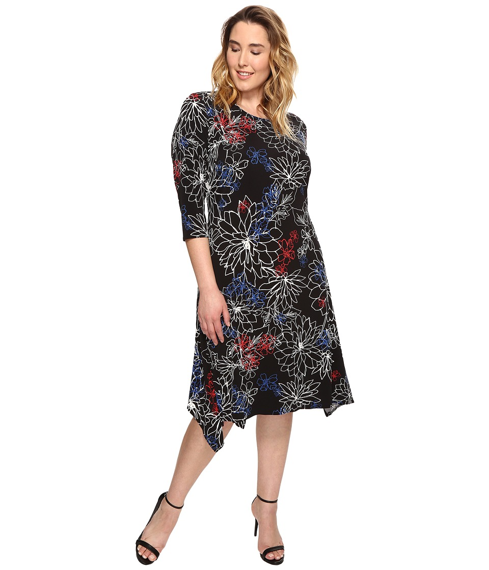 Vince Camuto Specialty Size - Plus Size Three-Quarter Sleeve Floral Coastline Sharkbite Dress (Rich Black) Women's Dress