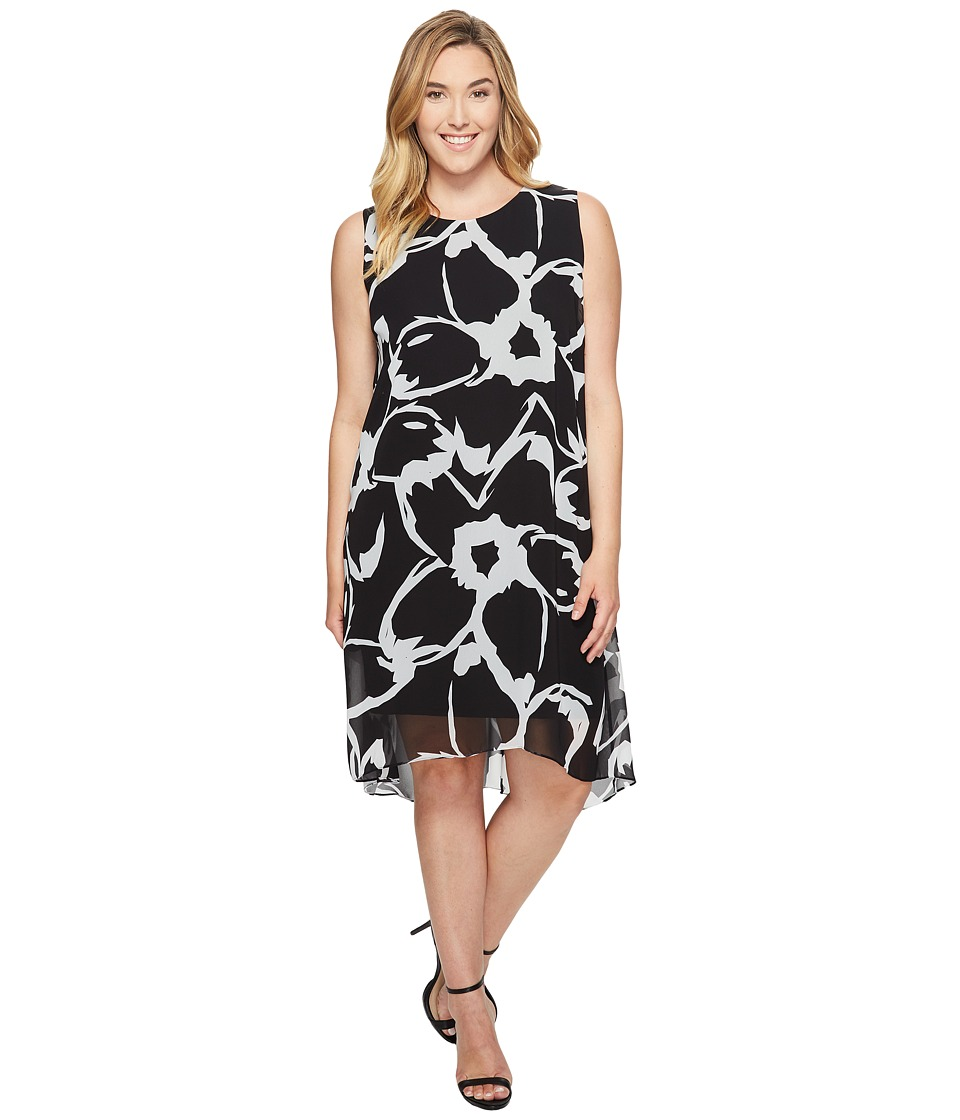 Vince Camuto Specialty Size - Plus Size Sleeveless Cut Out Floral Chiffon Overlay Dress (Rich Black) Women's Dress
