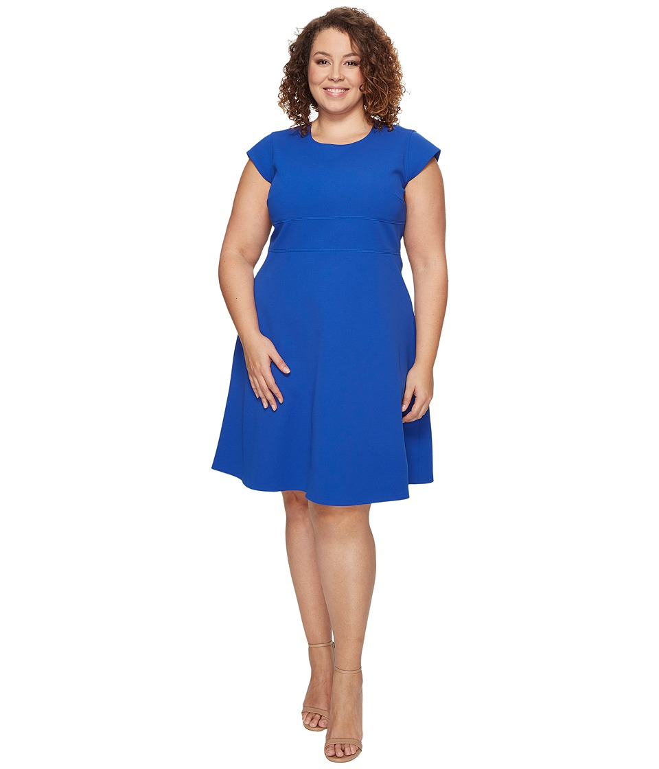 Vince Camuto Specialty Size Plus Size Cap Sleeve Fit and Flare Seamed Dress (Core Blue) Women