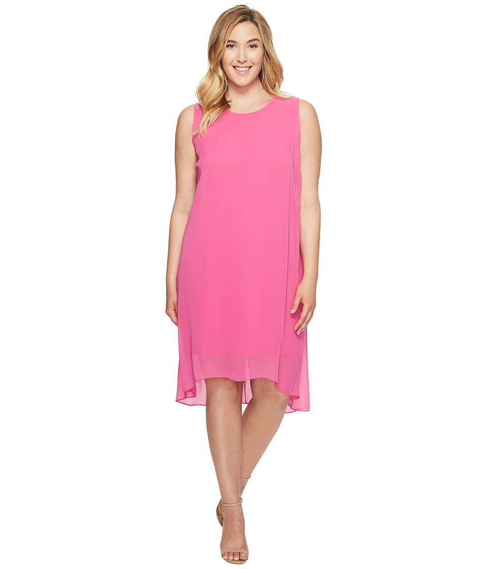 Vince Camuto Specialty Size - Plus Size Sleeveless Chiffon Overlay Dress (Electric Pink) Women's Dress