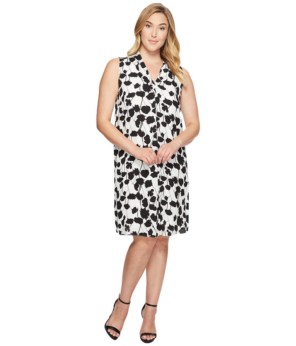 Vince Camuto Specialty Size Plus Size Sleeveless Elegant Blossom Invert Pleat Dress (New Ivory) Women