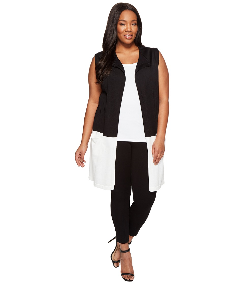 Vince Camuto Specialty Size - Plus Size Sleeveless Open Front Color Block Vest (Rich Black) Women's Vest