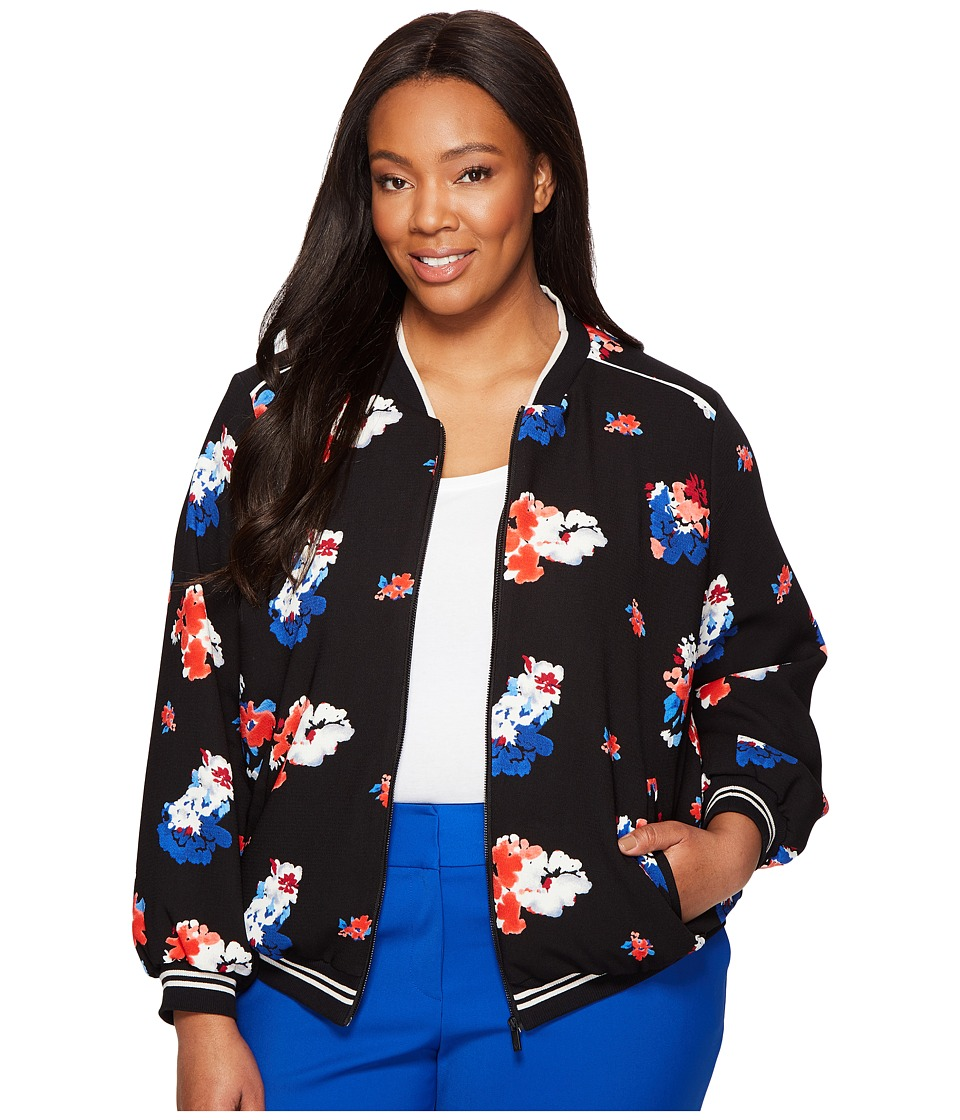 Vince Camuto Specialty Size - Plus Size Travelling Bloom Zip Front Bomber Jacket (Rich Black) Women's Coat