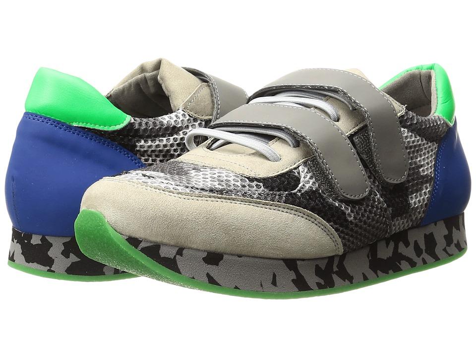 Stella McCartney Kids - Whoosh Velcro Strap Sneakers with Mesh Detail (Little Kid/Big Kid) (Grey) Boy's Shoes