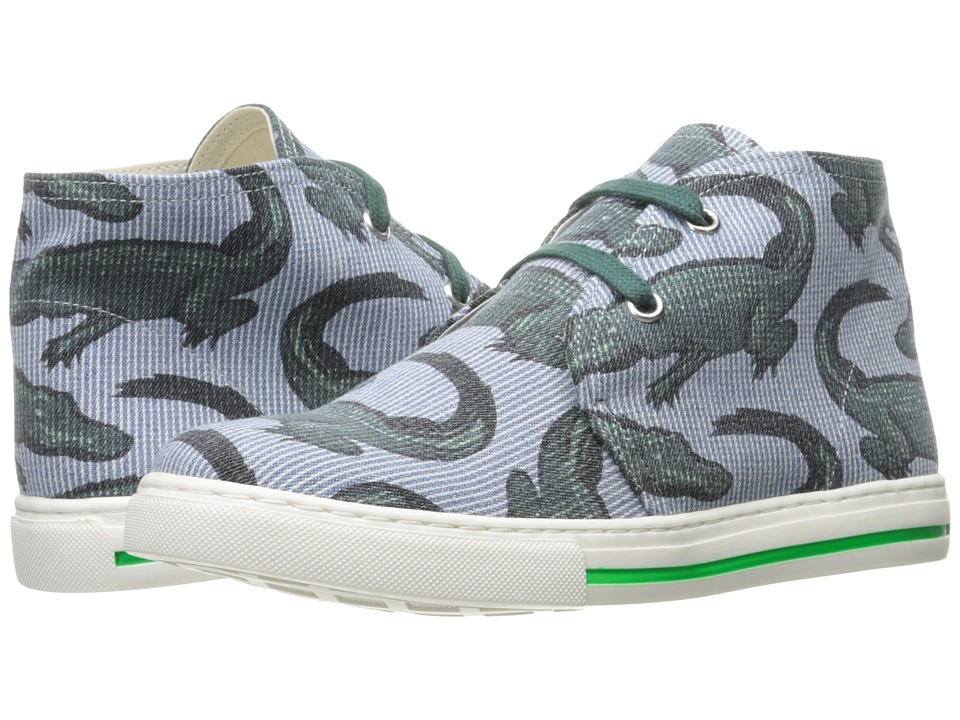Stella McCartney Kids - Alonzo High Top Alligator Print Sneakers (Little Kid/Big Kid) (Blue Stripe) Boy's Shoes