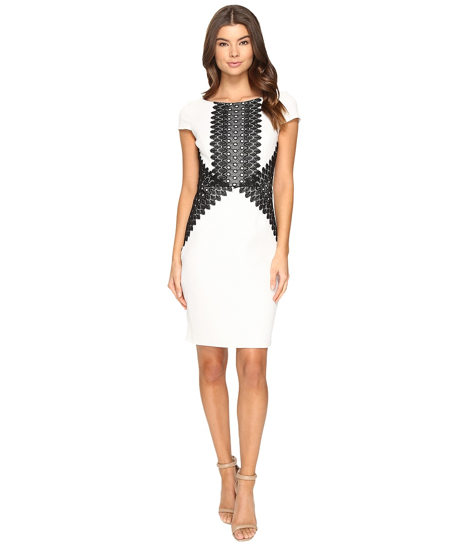Sangria - Embellished Knit Sheath Dress (Black/Ivory) Women's Dress