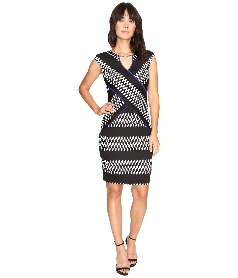 Sangria - Geo Scuba Sheath Dress (Black/White) Women's Dress