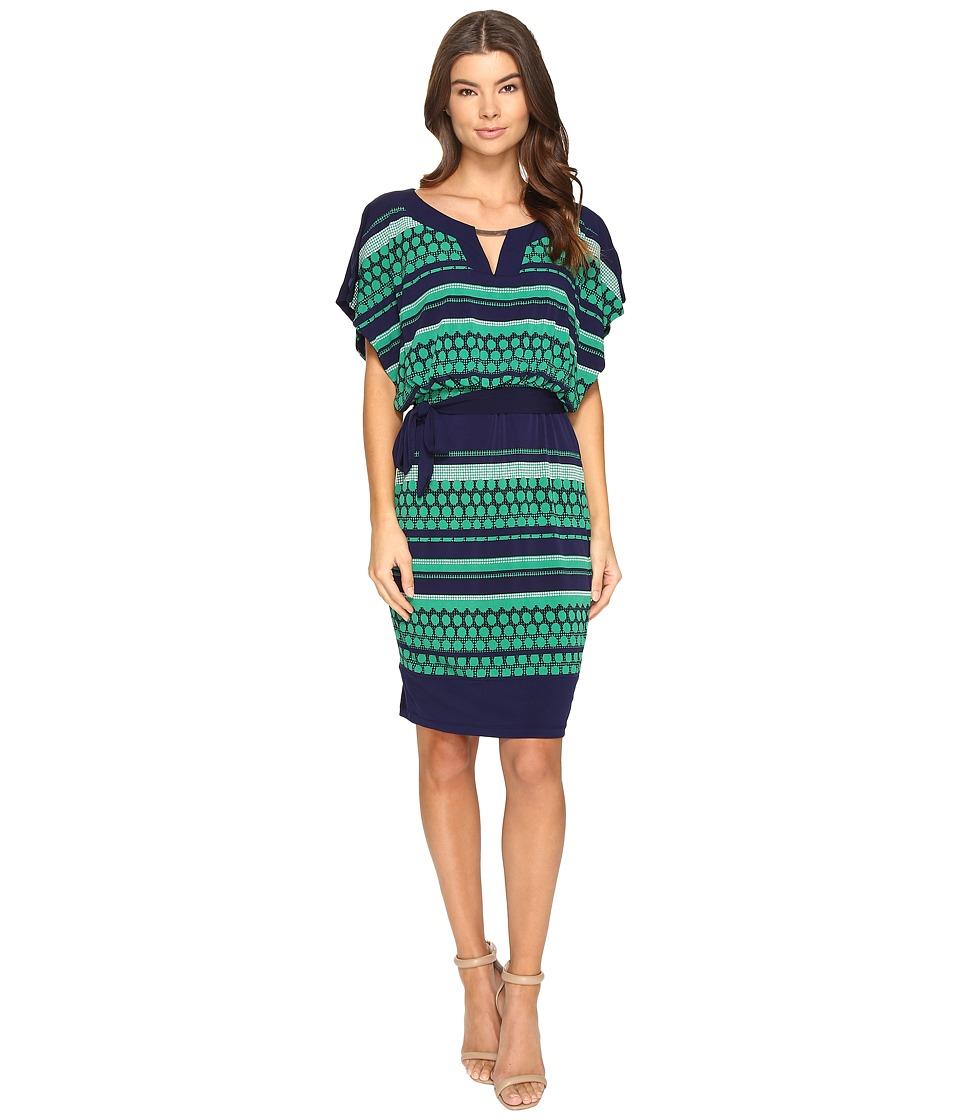 Sangria - Jersey Blouson Dress (Green/Multi) Women's Dress