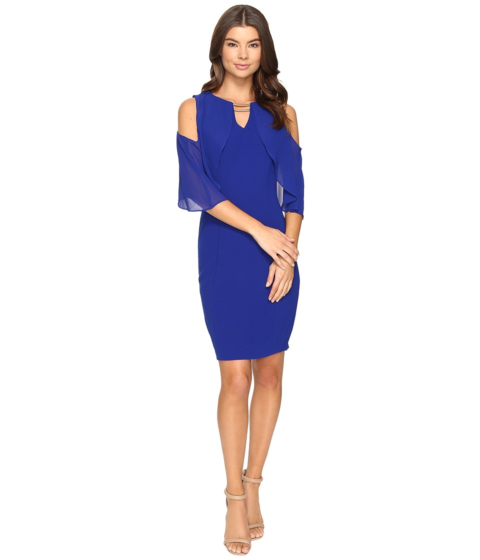 Sangria - Crepe Sheath Dress (Cobalt) Women's Dress