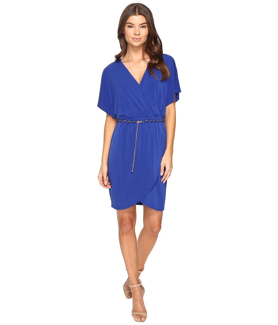 Sangria - Crepe Jersey Short Sleeve Dress (Cobalt) Women's Dress